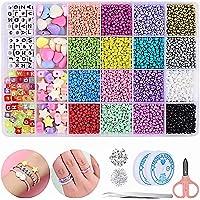 Mtanvxay 8280pcs Bracelet Beads for Jewelry Making Kit, 16 Colors Bead Friendship Bracelets Kit with Alphabet Letter…
