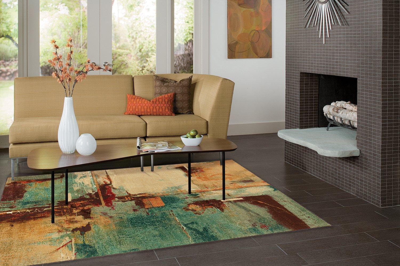 "Mohawk Home Strata Aqua Fusion Abstract Printed Area Rug, 7'6"" x 10', Multicolor"
