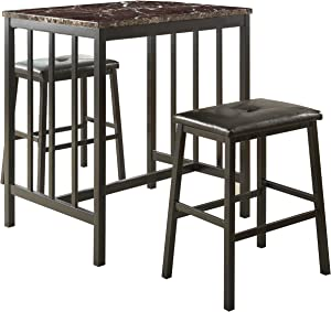 Homelegance 3-Piece Bi-Cast Vinyl Dining Set, Dark Brown