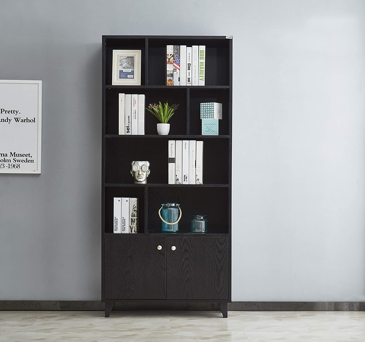 """Mixcept Modern Bookcase with 2 Doors 68"""" Tall Storage Cabinet Wooden Bookshelf with 7 Compartments for Home Office, Black"""