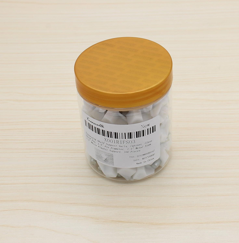1//5 Pin Diameter Glass Shelf Pin Tueascallk Shelf Support Pegs 100 Pieces 1//5 Pin Diameter 1//4 Metal Stem 1//3 White Plastic Support 1//4 Metal Stem Cabinet 1//3 White Plastic Support