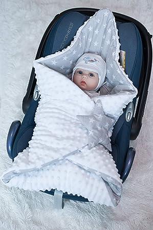 BlueberryShop Minky manta de forro polar para envolver al bebé en el coche  Saco de dormir para bebés recién nacidos   Para bebés de 0-3 meses   78 x 78 cm   Blanco Estrella