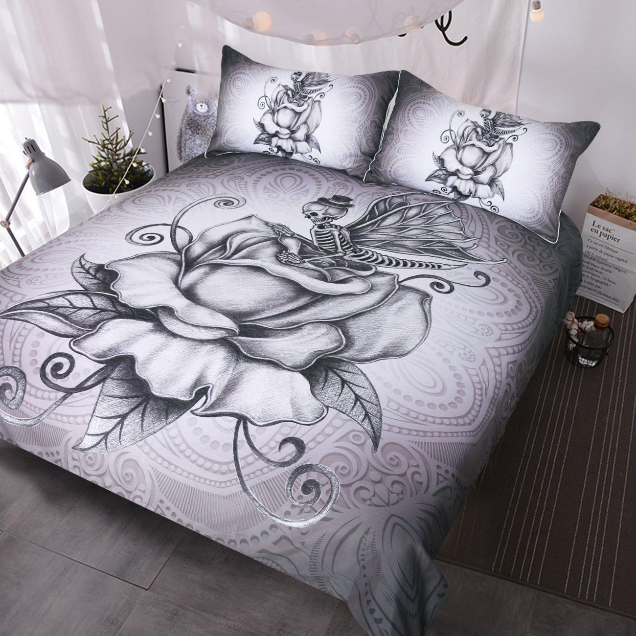 BlessLiving Pale Grey Butterfly Skull Bedding 3 Pcs Retro Skull and Roses Duvet Cover Super Soft Romantic Dark Bed Set (King)
