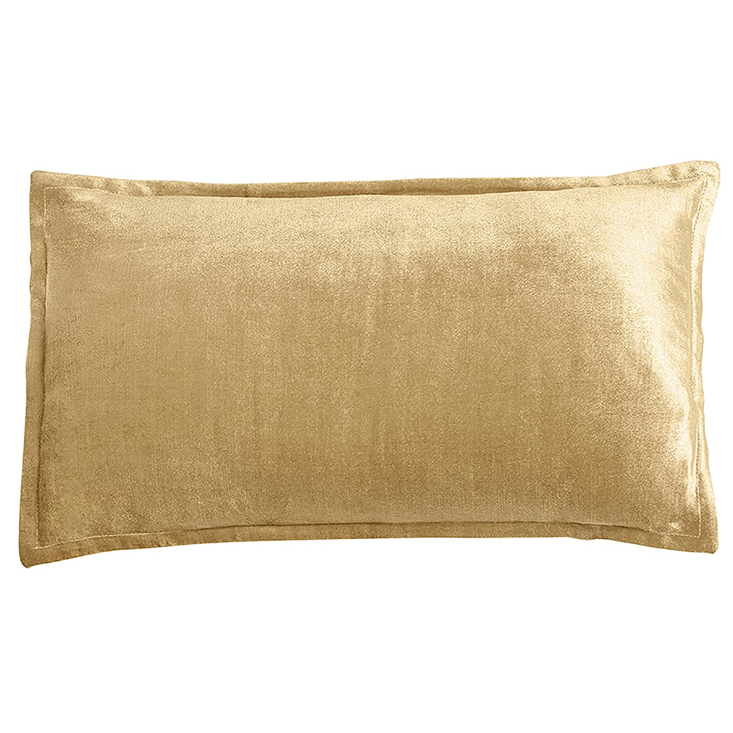 "12x20"" Velvet Lux Decorative Pillow with Feather Insert Included (Gold)"