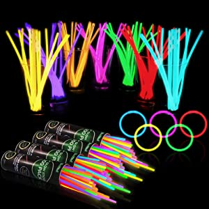"400 Glow Sticks Bulk Party Supplies - Glow in The Dark Bracelets and Necklaces Party Pack, Includes 7 Vibrant Colors of 8"" Glowsticks and Connectors"