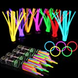 """400 Glow Sticks Bulk Party Supplies - Glow in The Dark Fun Party Favors Pack with 8"""" Glowsticks and Connectors for Bracelets"""
