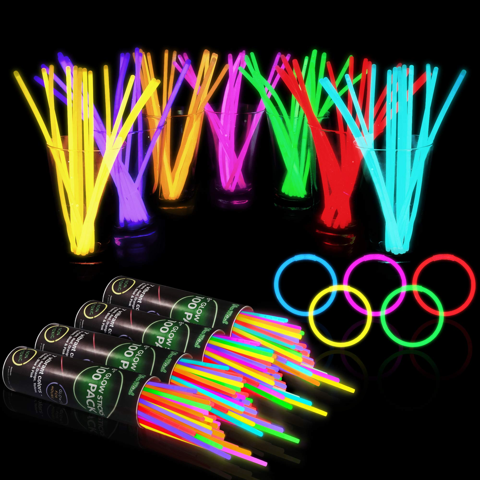 400 Glow Sticks Bulk Party Supplies - Glow in The Dark Fun Party Pack with 8'' Glowsticks and Connectors for Bracelets and Necklaces for Kids and Adults by Glow Mind (Image #1)