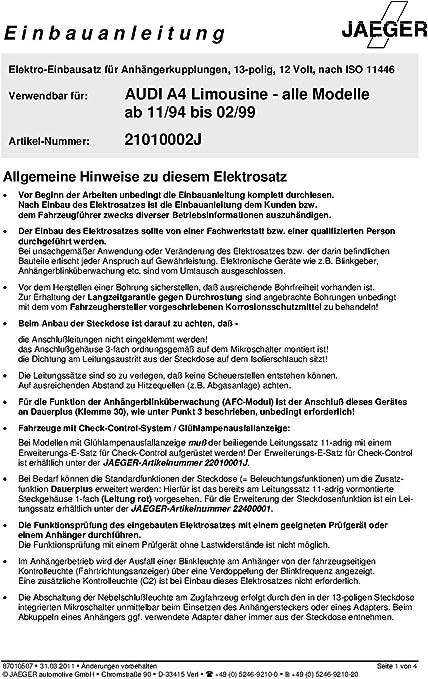 Jaeger 21090500 Elektrosatz Anh/ängevorrichtung