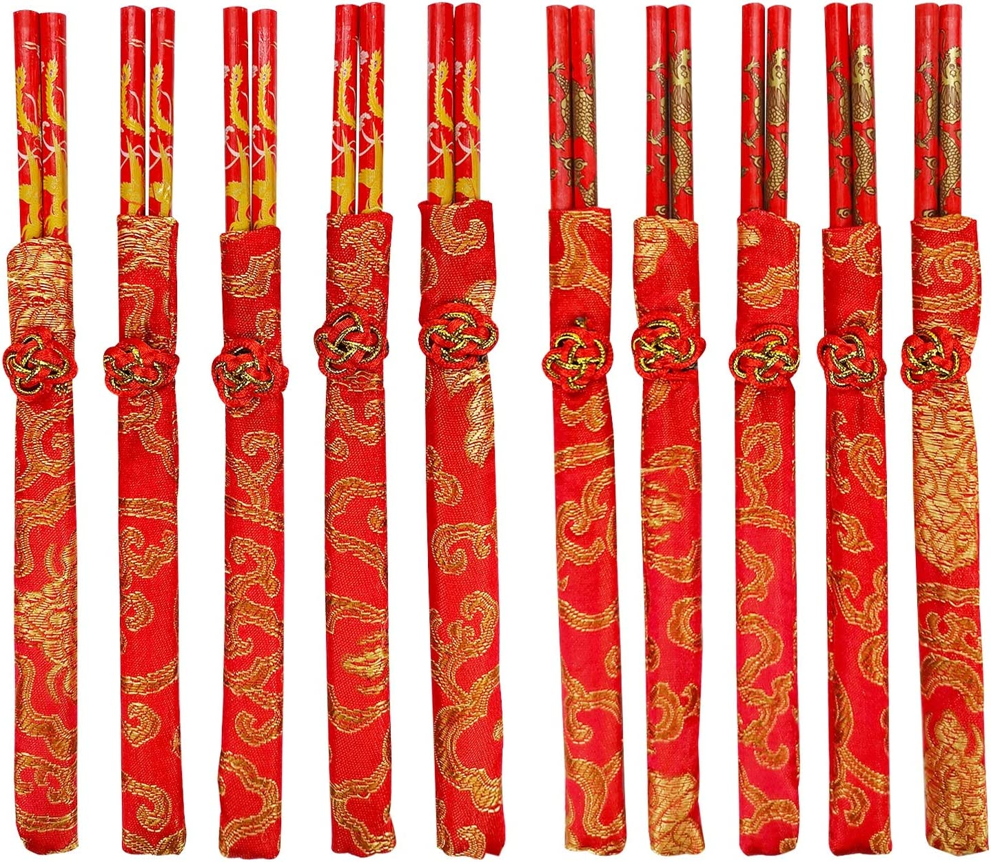 CheeseandU 10Pairs Chinese Knot Red Wood Chopsticks Durable Household Food Stick with Gold Dragon Phoenix Pattern Printed Tableware Chopstick Set Wedding Gift Christmas Gift 2021 New Year Gift