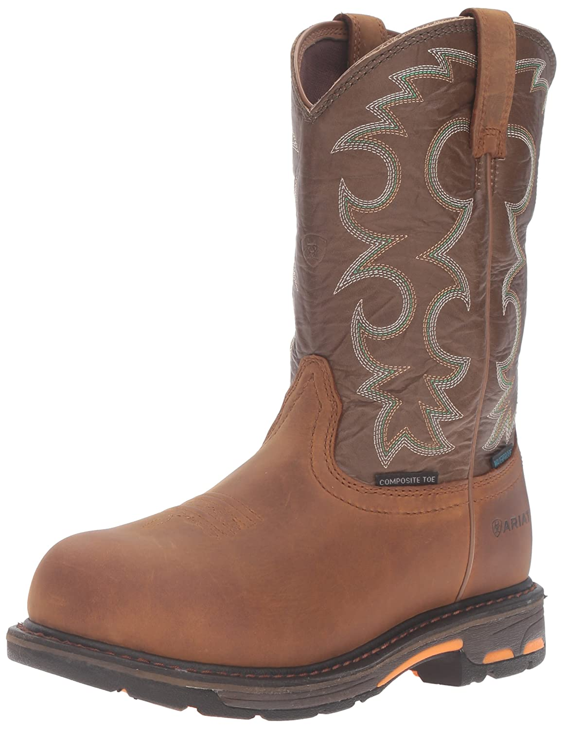 Ariat Women's Workhog H2O Composite Toe Work Boot B01BPW8XFU 8 W US|Aged Bark/Army Green