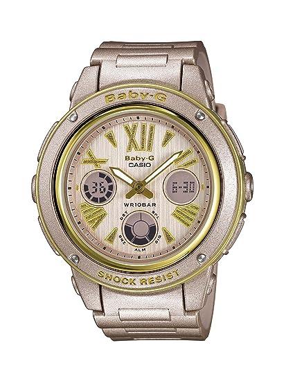 Casio Baby-G BGA-153M-4BER - Reloj analógico - digital de cuarzo para mujer, correa de resina color dorado: Amazon.es: Relojes