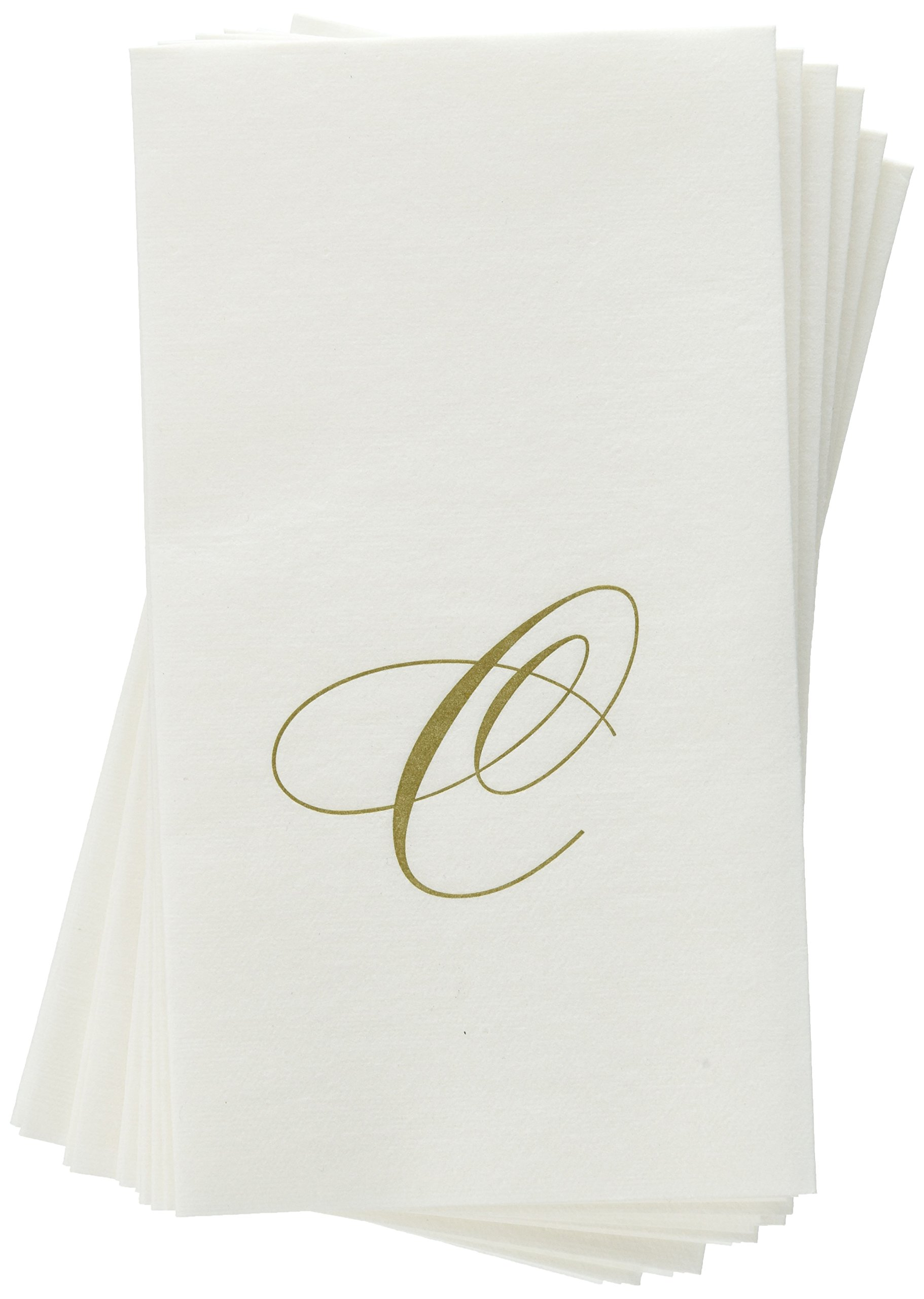 Entertaining with Caspari White Pearl Paper Linen Guest Towels, Monogram Initial C, Pack of 24