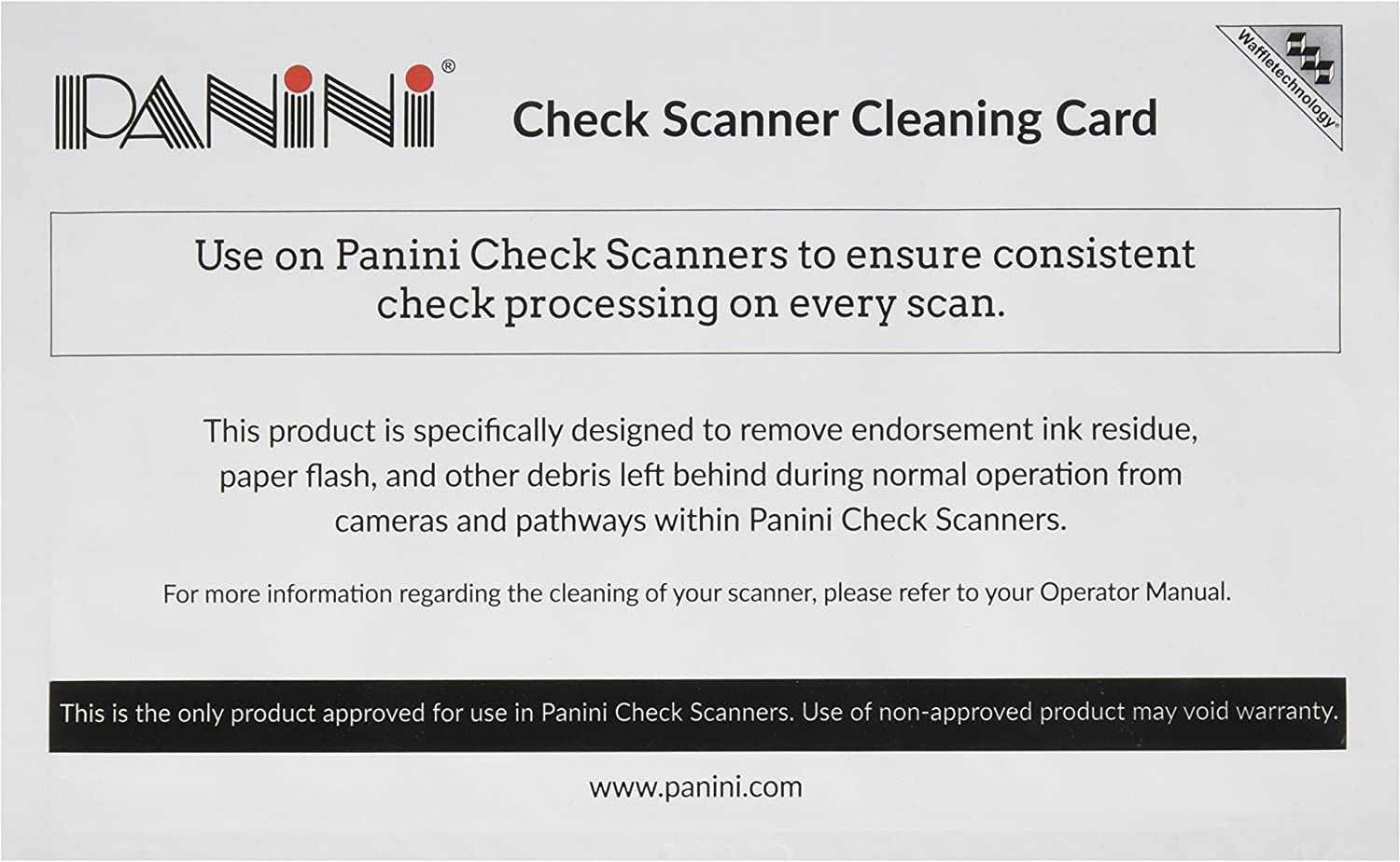 Panini Check Scanner Cleaning Cards featuring Waffletechnology (15 cards): Electronics