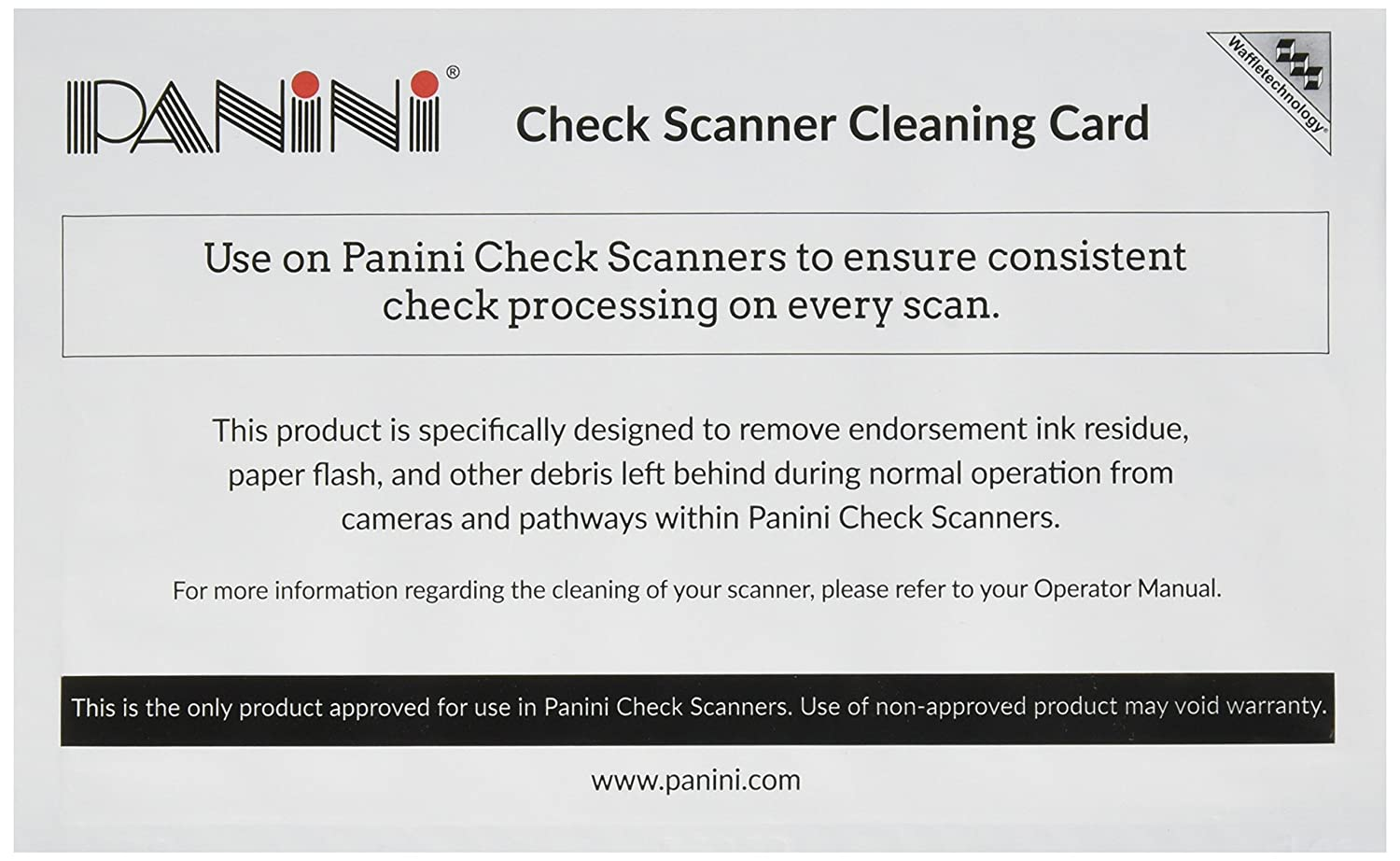 Panini Check Scanner Cleaning Cards featuring Waffletechnology (15 cards) KicTeam KWPNI-CS2B15WS