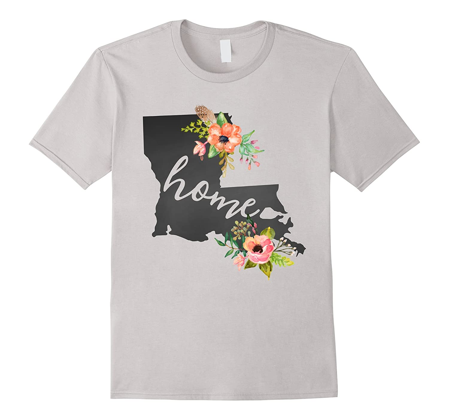 Louisiana Home Chalkboard Watercolor Flowers State T-Shirt-RT