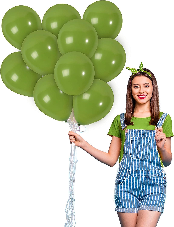 Sage Green Balloons 10 Inch - Matte Olive Green Balloons 100 Pack - Solid Eucalyptus Balloons for Apple Green Wedding Jungle Garden Summer Birthday Graduation Hawaiian Mardi Gras Party Supplies