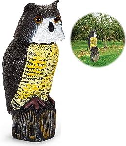 Hoofun Fake Owl Decoy Statue with Rotating Head, Owl Scarecrow Statue Scare Birds Away for Yard Garden Outdoor Decoration