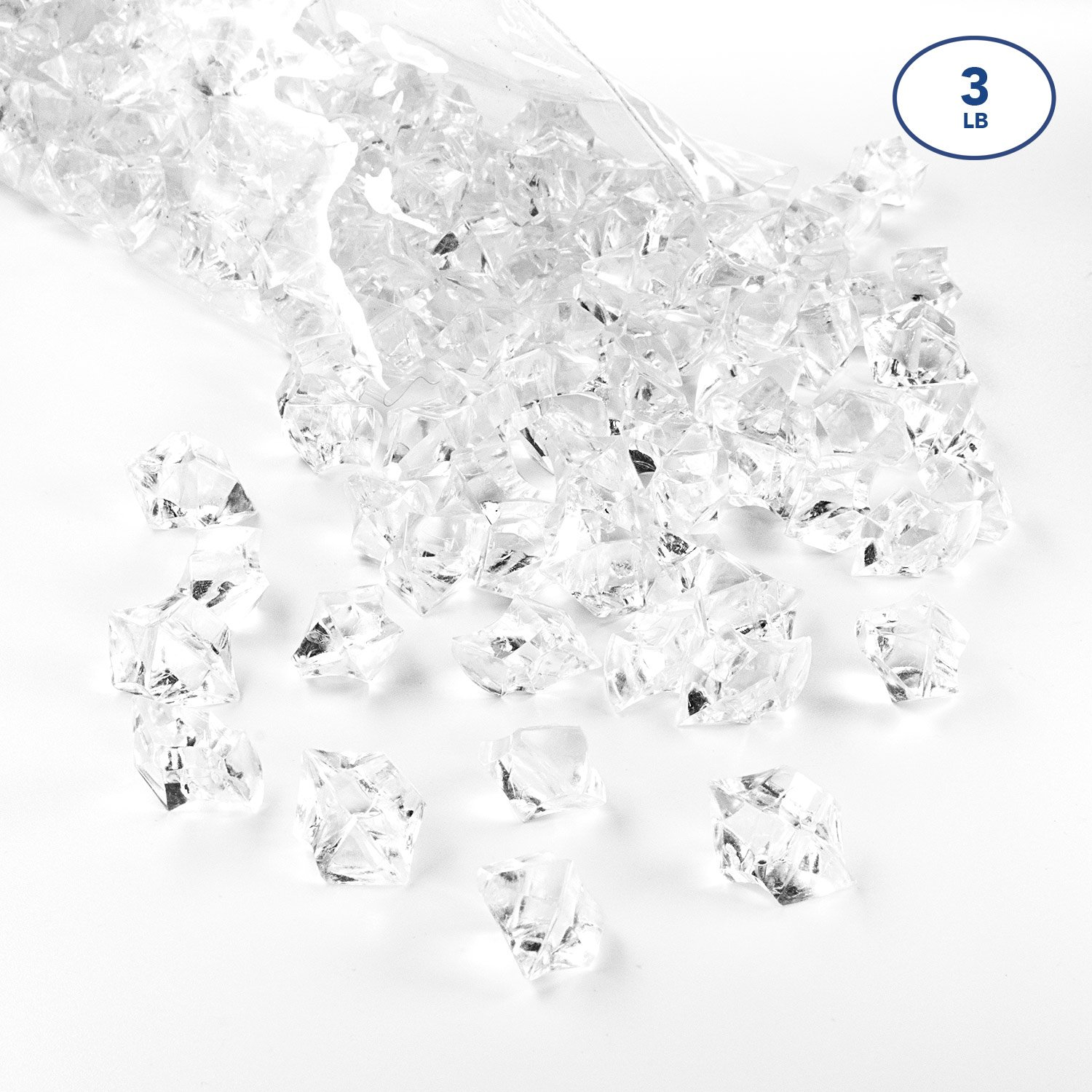 Acrylic Gems Ice Crystal Rocks for Vase Fillers, Party Table Scatter, Wedding, Photography, Party Decoration, Crafts by Royal Imports, 3 lbs (Approx 580-600 gems) - Clear