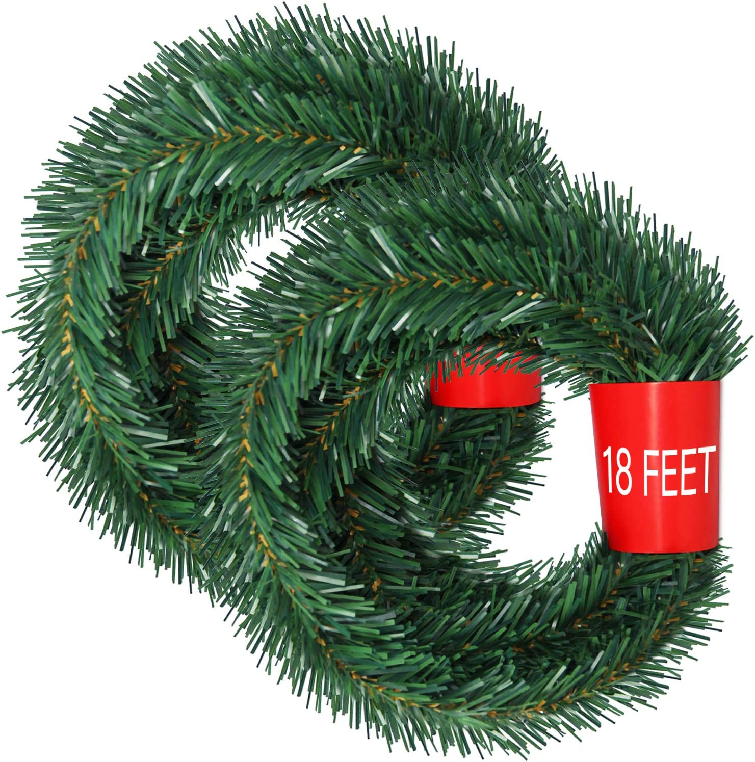 Artiflr 2 Strands Christmas Garland, Total 40 Feet Artificial Pine Garland Soft Greenery Garland for Holiday Wedding Party,Stairs,Fireplaces Decoration, Outdoor/Indoor Use
