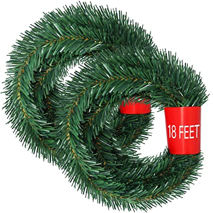 Lvydec 36 Feet Christmas Garland 2 Strands Artificial Pine Garland Soft Greenery Garland For Holiday Wedding Party Decoration Outdoor Indoor Use