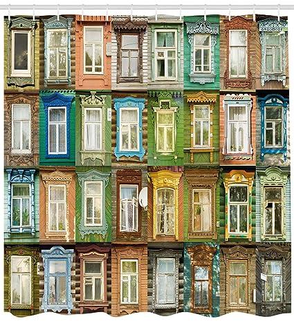 Lunarable Landscape Shower Curtain European Old Vintage Retro Russian House Apartment Windows Colorful Art Print