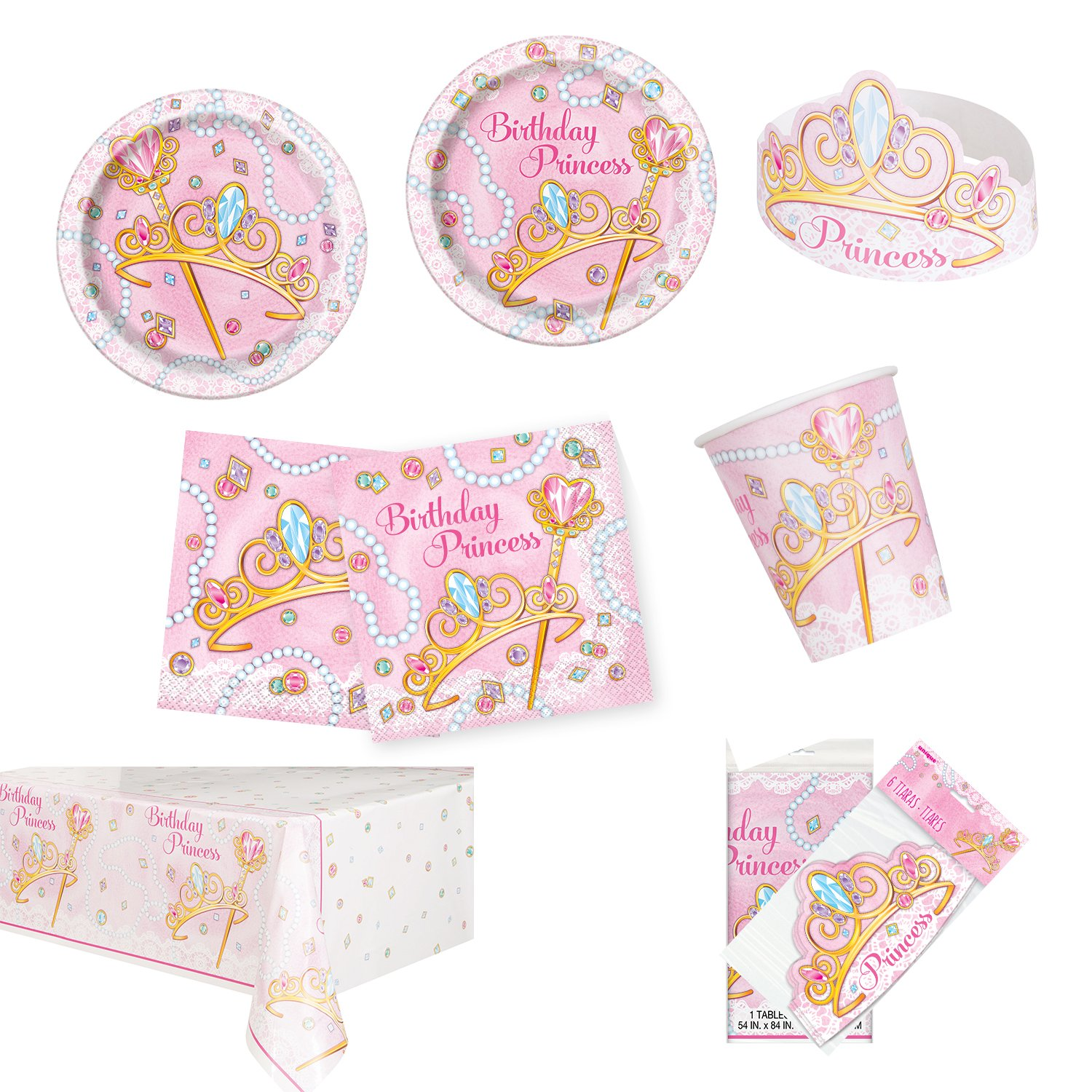 Unique Pink Princess Party Bundle | Luncheon & Beverage Napkins, Dinner & Dessert Plates, Table Cover, Cups, Tiaras | Great for Fairytale/Royal Birthday Themed Parties