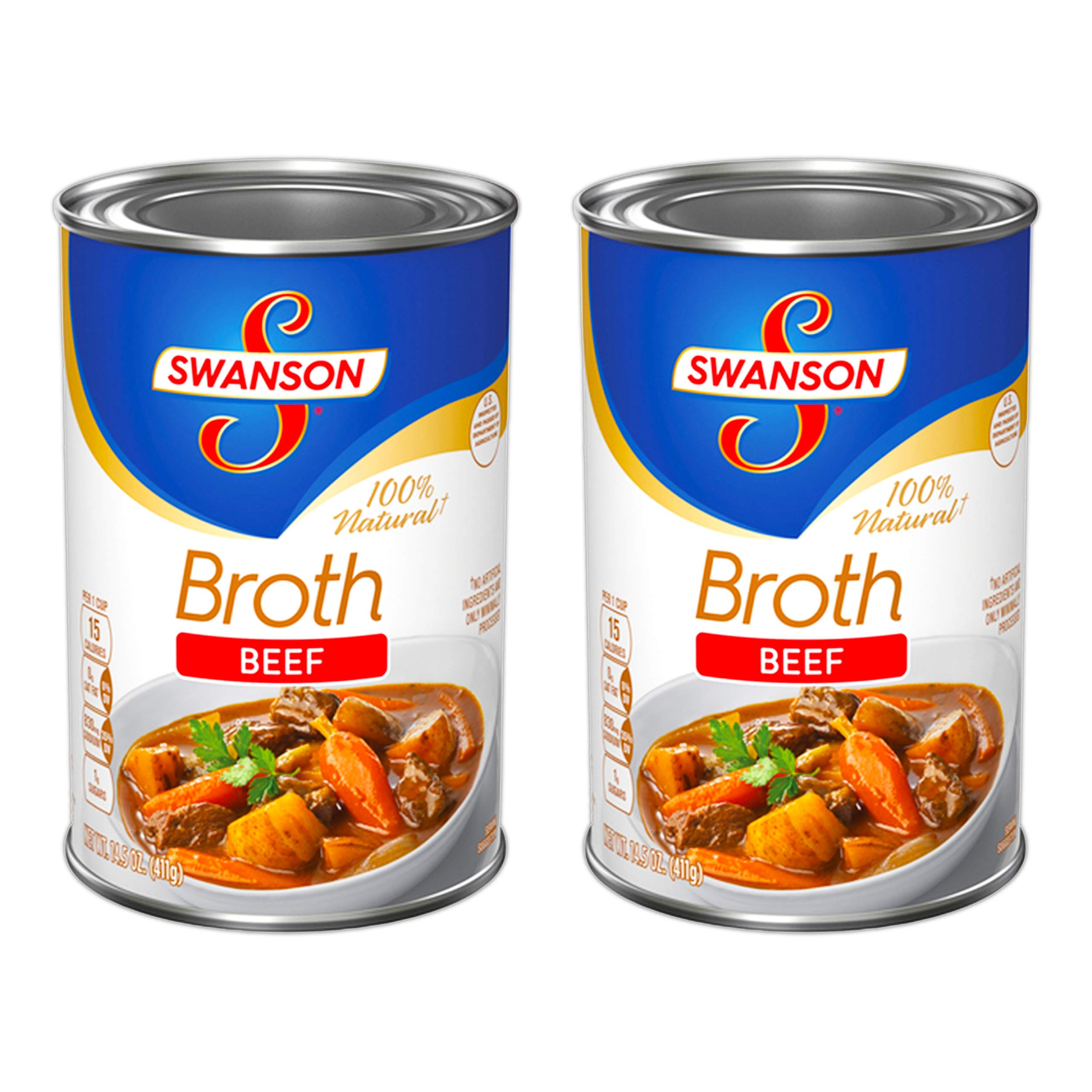 Swanson 100% Natural Beef Broth 14.5 Oz (Pack of 2)