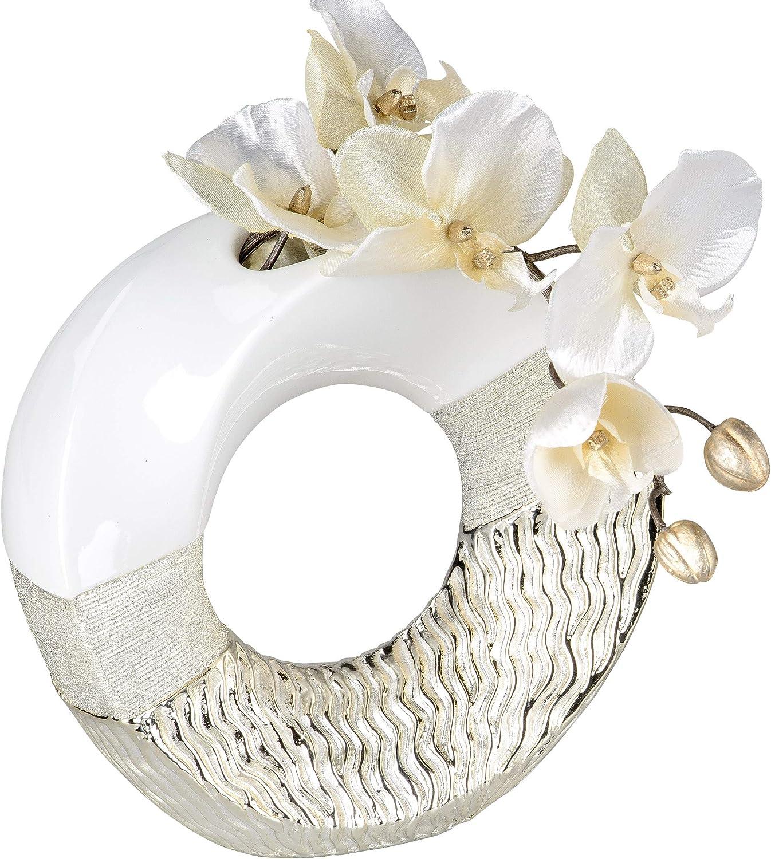Lifestyle /& More D/éco Moderne Vase /à Fleurs Vase de Table Vase en c/éramique Or Blanc Brillant et Mat 23x23 cm
