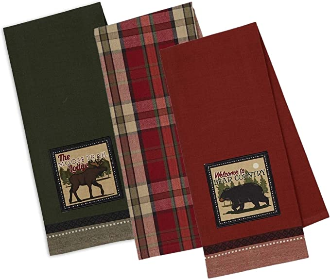 """Kitchen Dish Towels Cabin Lodge Lake House Camp Rustic Cotton 15x25/"""" Set of 2"""