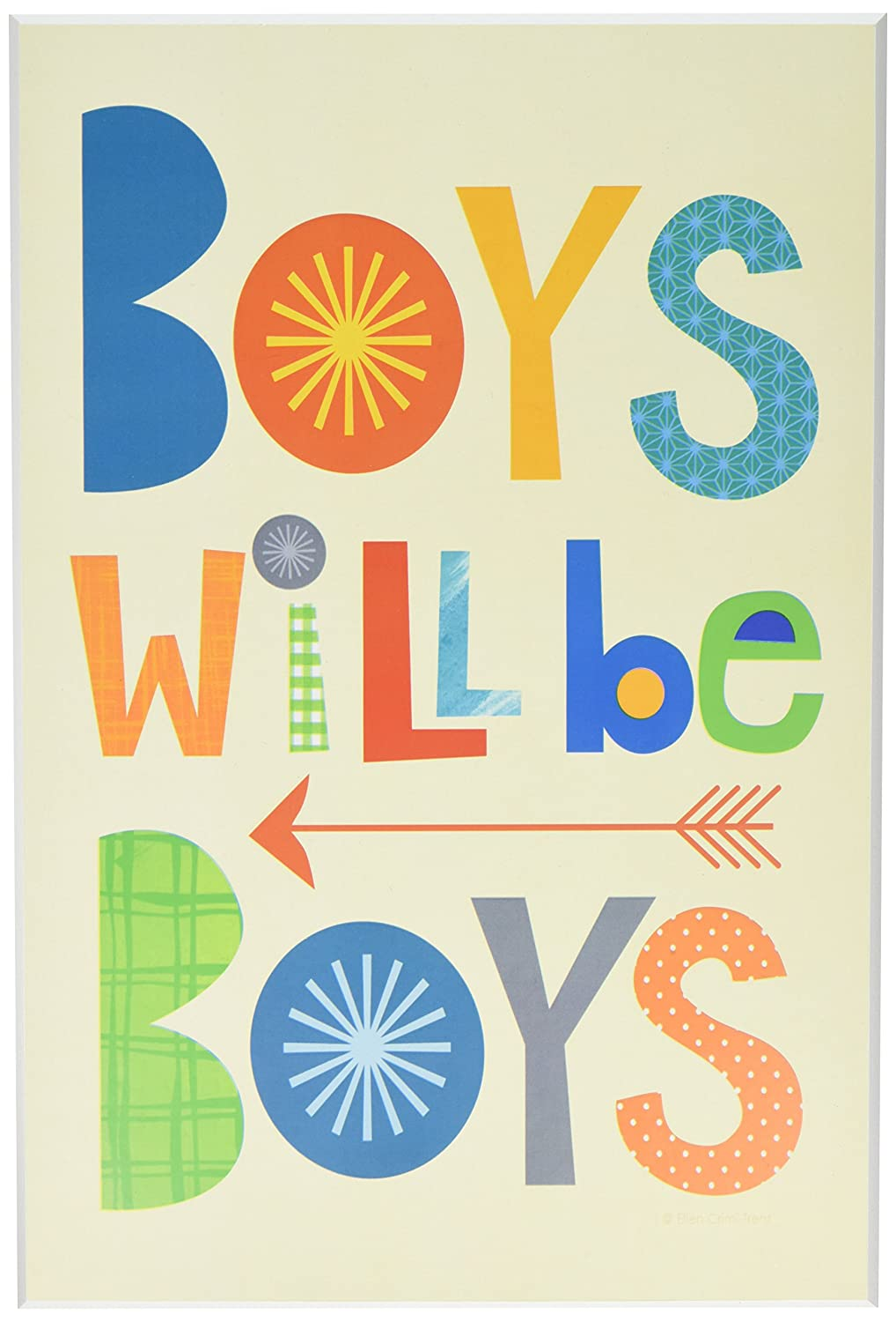 Stupell Home Décor Boys Will Be Boys Multi-Color with Arrow Wall Plaque Art, 10 x 0.5 x 15, Proudly Made in USA Stupell Industries brp-1758_wd_10x15