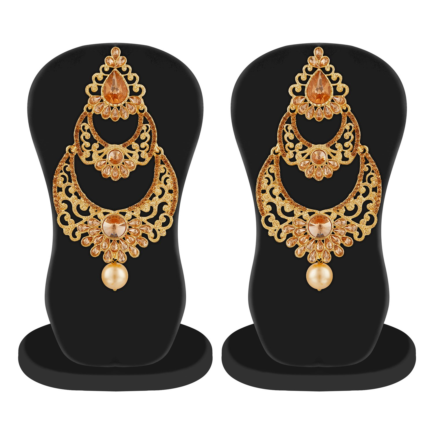 c57ee4a70ca Buy Rich Lady Beautiful Work with Antique Gold Plated Long Indian  Traditional Style Chandbali Earrings For Women Online at Low Prices in India