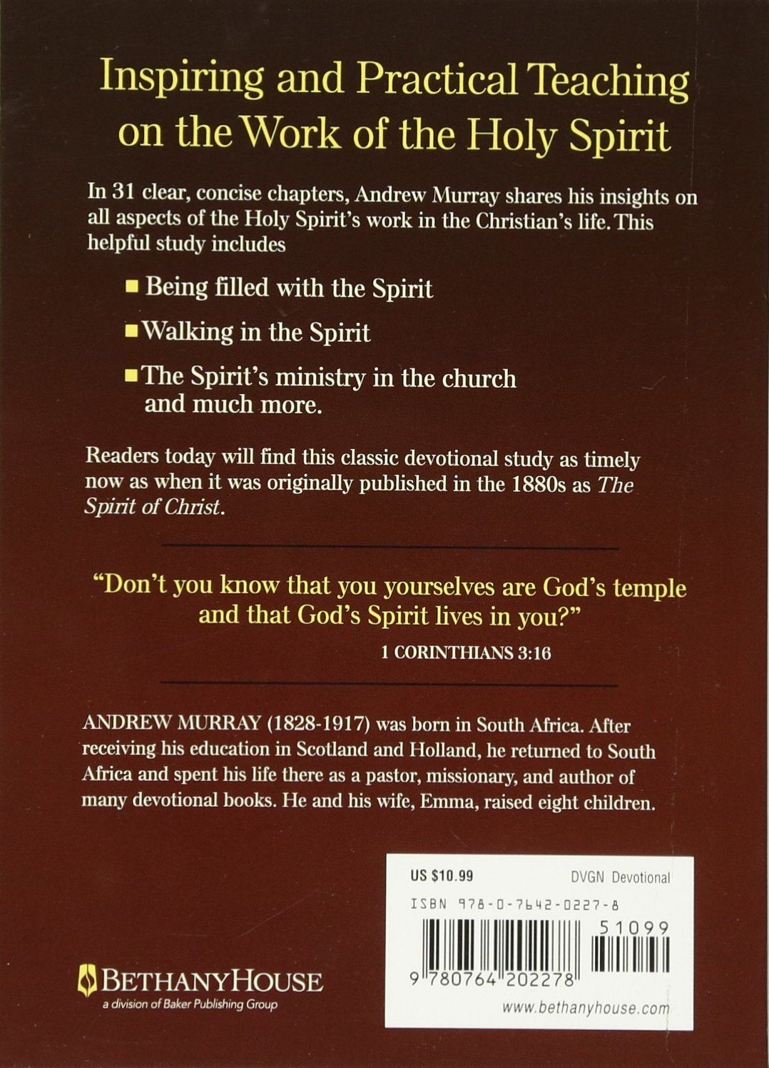 The indwelling spirit the work of the holy spirit in the life of the indwelling spirit the work of the holy spirit in the life of the believer andrew murray 9780764202278 amazon books thecheapjerseys Gallery