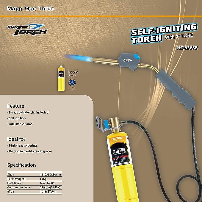 SPARC MAPP//Propane Torch w//Hose Gauge Trigger Start 1YR USA Warranty
