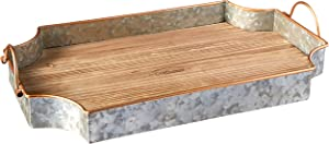 "Circleware 02978 Cooperstown Wooden Craftsman Rectangle Serving Tray with Handles Kitchen Multi-Purpose Serveware for Coffee Table, Dinner, Breakfast, Food, Farmhouse Decor 17.5"" x 11"" x 2"" Home"