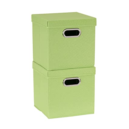Household Essentials 812 1 Café Cube Bin Storage Set With Lids And Handles  | 2