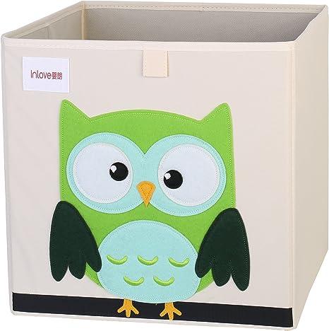 Caja Organizador Juguete plegable lona cubo Almacenamiento Dibujos Animados para Niños por ELLEMOI (Buho): Amazon.es: Bebé