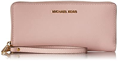 b3dff1f0a707 Michael Kors Pink Jet Set Travel Leather Continental Wallet Blossom ...