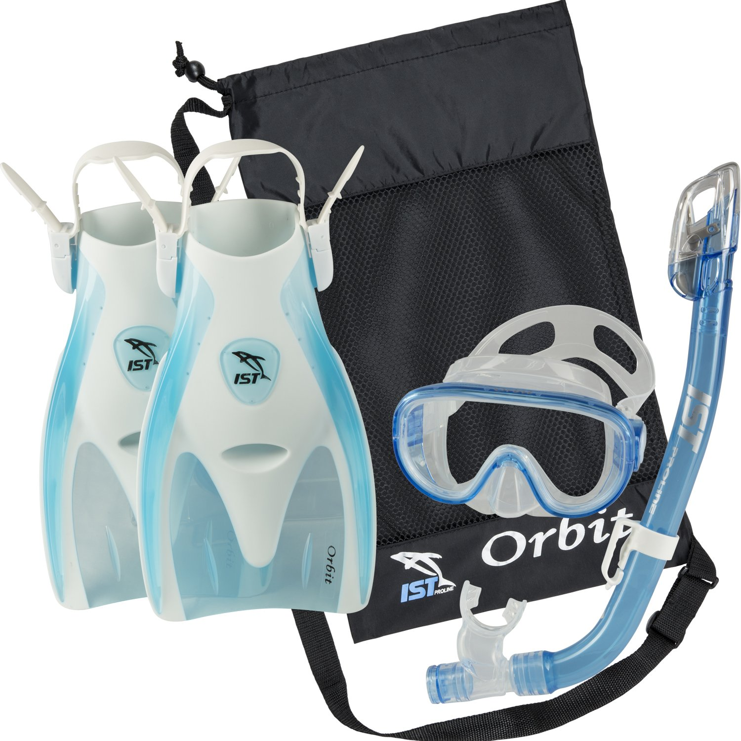 IST Orbit Snorkel Set (White/Clear Blue, Small (2-5))