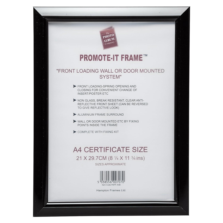 Papfa4bblk Promote It Black Plastic A4 21x30cm Poster Certificate