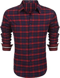 Coolfand - Camisa tradicional para hombre, de manga larga, diseño a cuadros, para hombre, estilo casual rojo L: Amazon.es: Ropa y accesorios