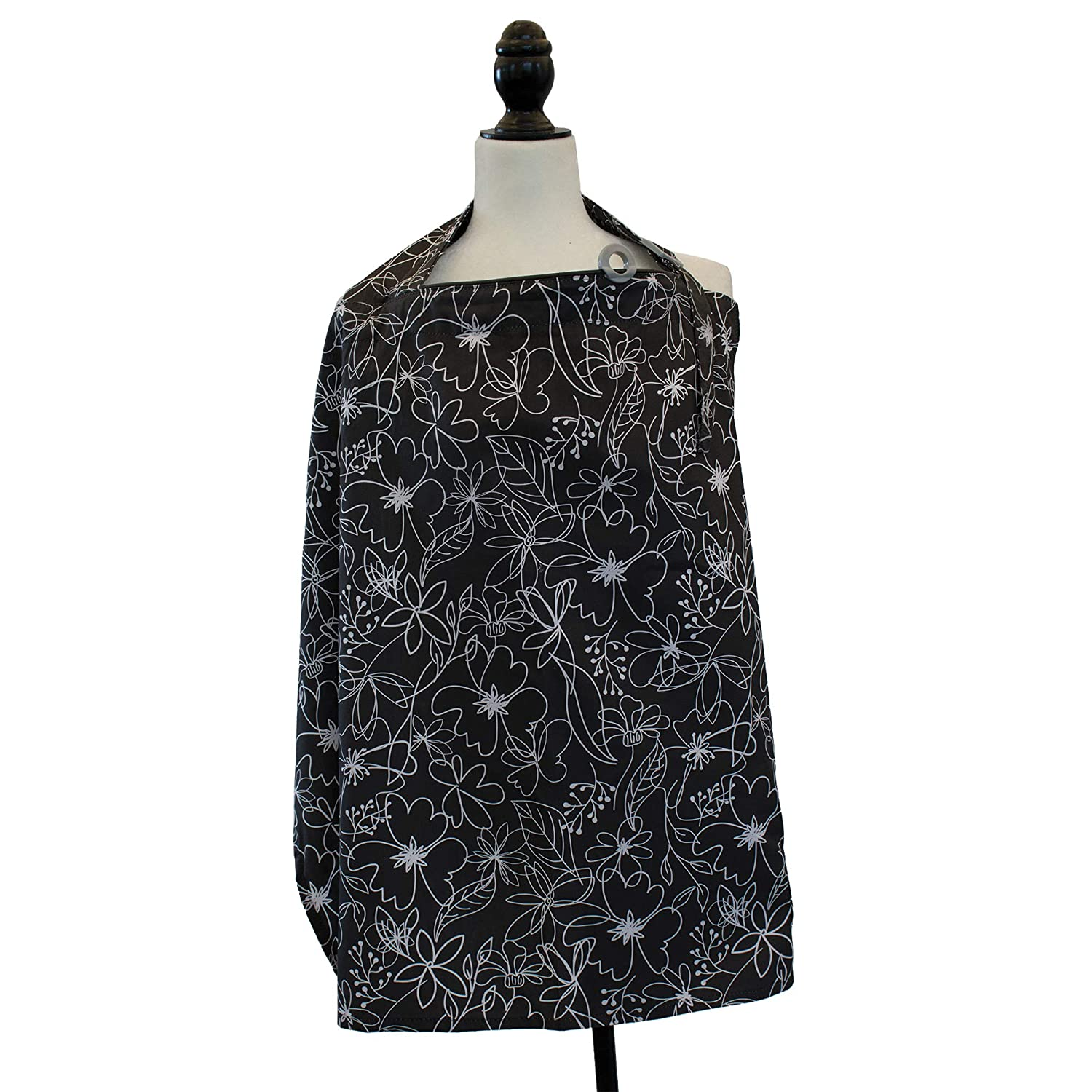 Boppy Nursing Cover, Black and White Floral Scribbles, fashionable nursing cover for breastfeeding
