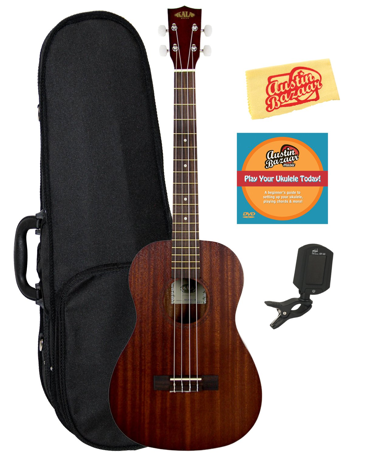 Kala KAA-15B Satin Mahogany Baritone Ukulele Bundle with Hard Case, Tuner, Austin Bazaar Instructional DVD, and Polishing Cloth