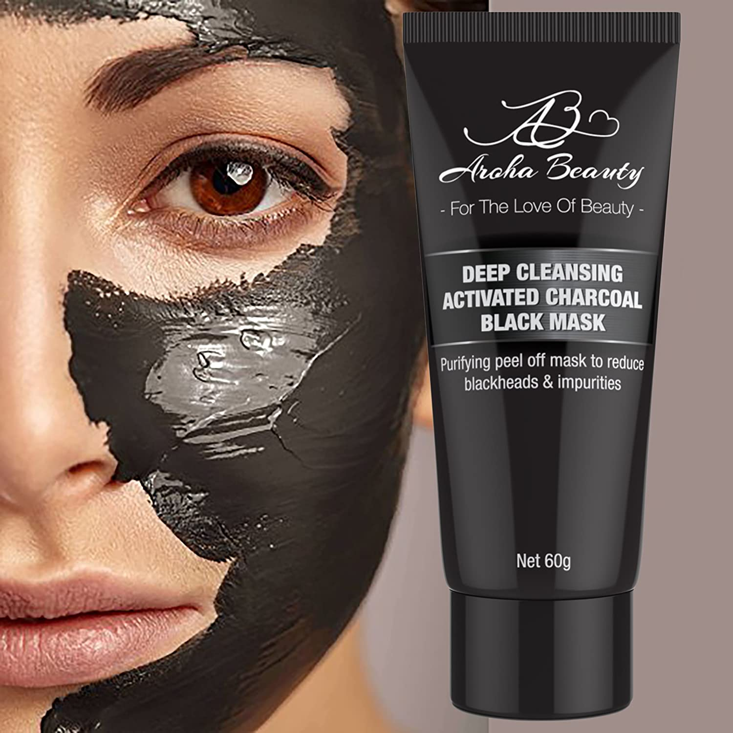 Aroha Beauty Blackhead Peel Off Mask - Charcoal Face Mask - Bamboo Peel Off Mask Extractor - Blackhead Removing and Cleaning - Deep Cleanses Skin and Removes Dirt from Pores