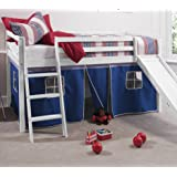 Cabin Bed Whitewash Mid Sleeper Bunk with Slide Blue Tent 6005