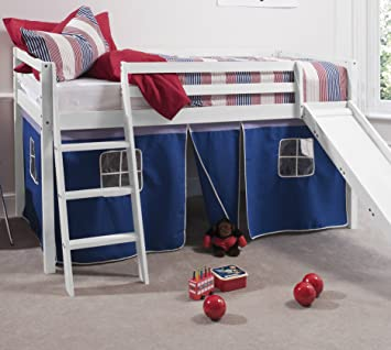 Cabin Bed Whitewash Mid Sleeper Bunk with Slide Blue Tent 6005 : bunk bed with tent and slide - memphite.com