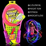Jump Rope Kids, Kids Led Light Up Jump Rope Chinese Jump Rope Skipping Glow in Dark Flashing Color Change 7 Foot Cable Pink Gift for Girls Kids Mom Wife Best Birthday Holiday Gifts