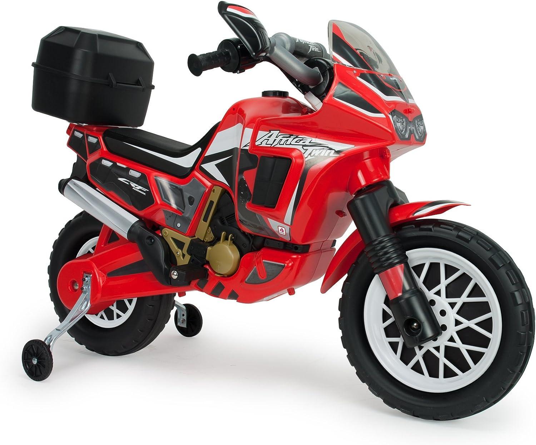 INJUSA – Moto África Twin de 6V Licenciada con Maletín Trasero y Ruedas Estabilizadoras Recomendada a Niños +3 Años, Color Rojo