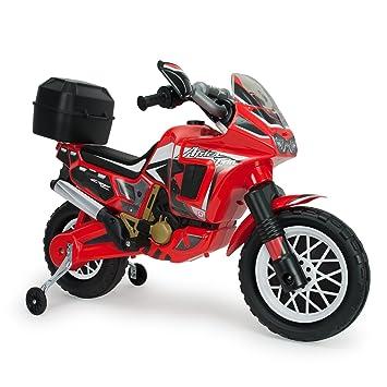 INJUSA - Moto Honda Africa Twin a batería 6V para niños de 3 años con Maleta portaequipaje, roja (6827): Amazon.es: Juguetes y juegos