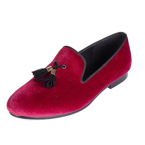 Harpelunde - Mocasines de Terciopelo para Hombre Rojo Red, Color Rojo, Talla 41 EU: Amazon.es: Zapatos y complementos
