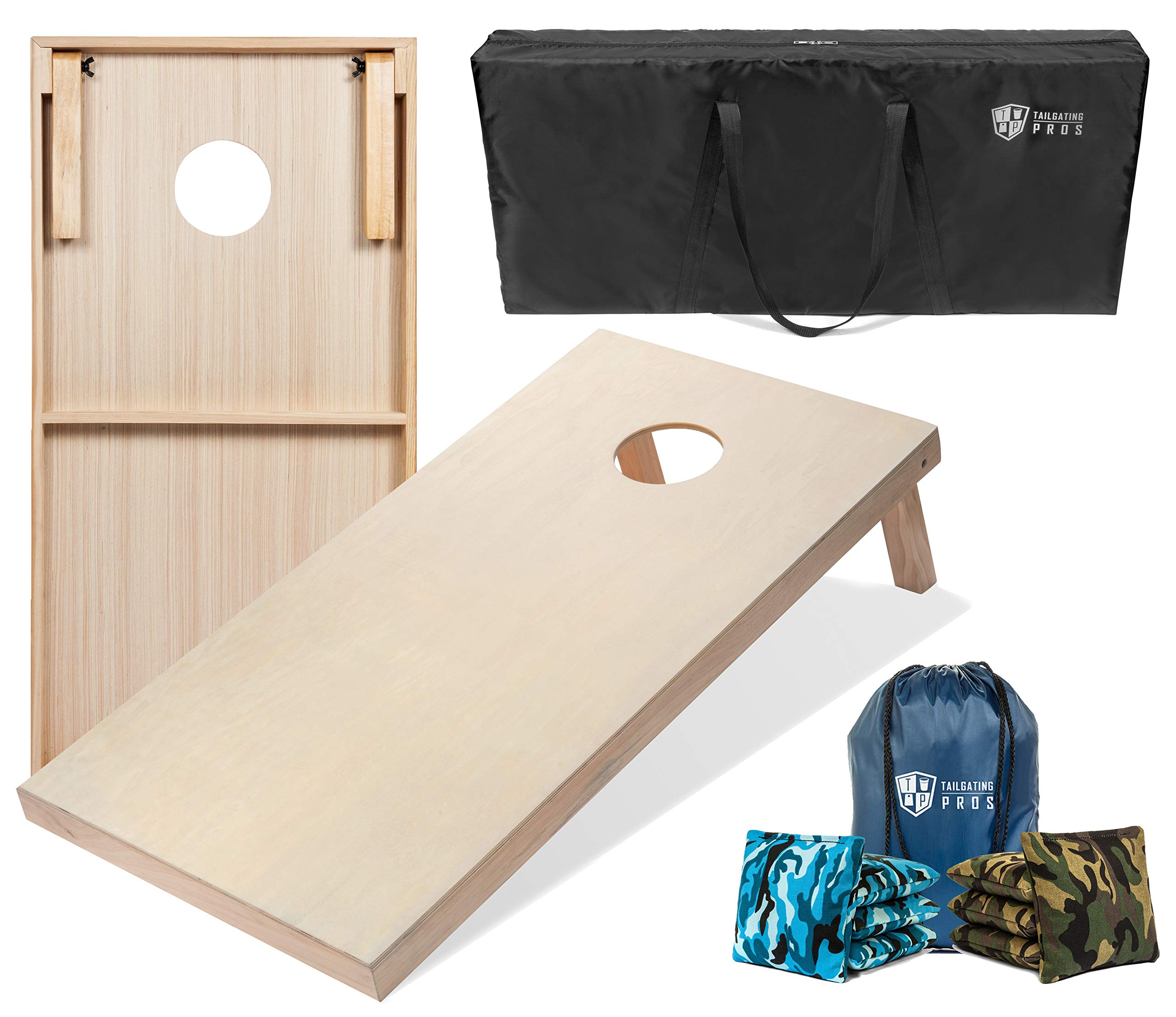 Tailgating Pros 4'x2' & 3'x2' Cornhole Boards w/Carrying Case & Set of 8 Cornhole Bags (You Pick Colors) 150+ Color Combos! (Blue Camo/Green Camo, 4'x2' Boards) by Tailgating Pros